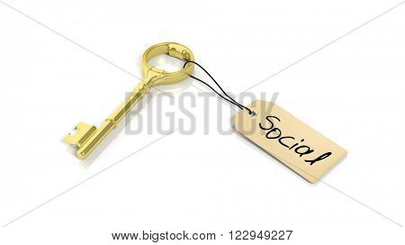 Tag with word Social on golden retro key , isolated on white background.