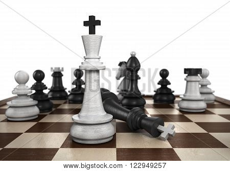 3D Illustration Of concept of victory the resulting mat set the player to play black chess