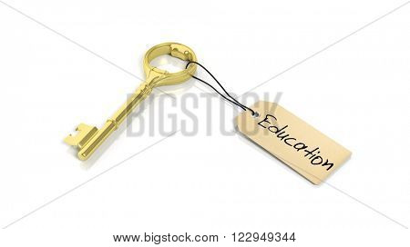 Tag with word Education on golden retro key , isolated on white background.