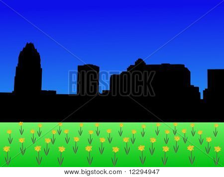 Austin Skyline in spring with daffodils illustration