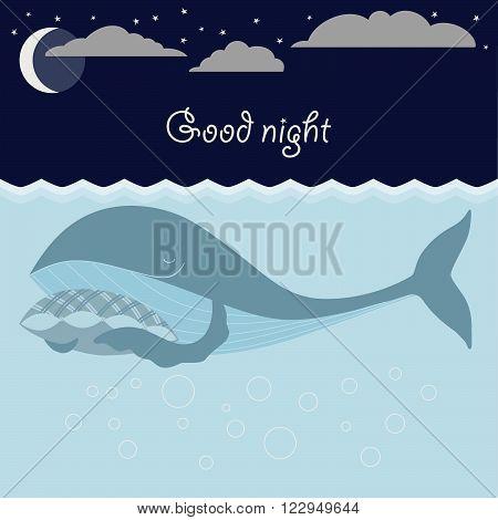 Ocean sleeping whales, moon, stars. Good night card. Vector illustration.