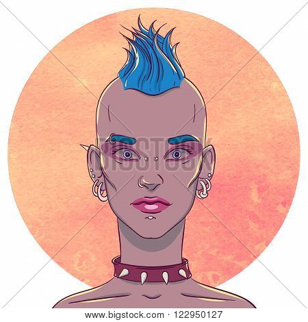 Portrait of a young girl with mohawk hairstyle and piercings on the background of the watercolor circle