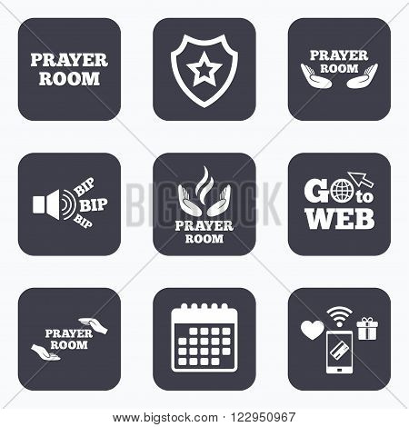 Mobile payments, wifi and calendar icons. Prayer room icons. Religion priest faith symbols. Pray with hands. Go to web symbol.