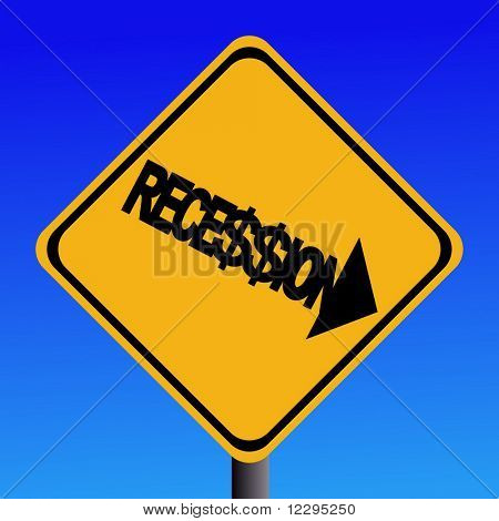 Recession warning sign with dollar signs on blue sky illustration