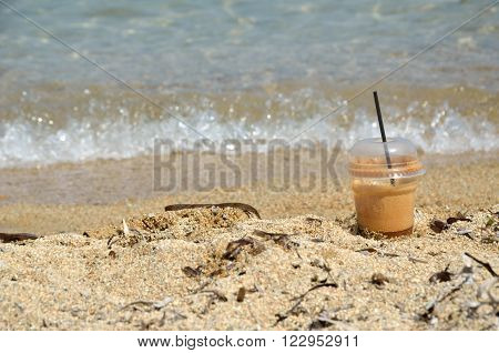 Coffee Frappe And Foamy Little Wave