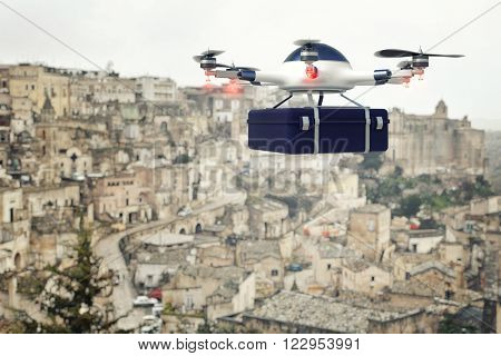modern drone with case and town background