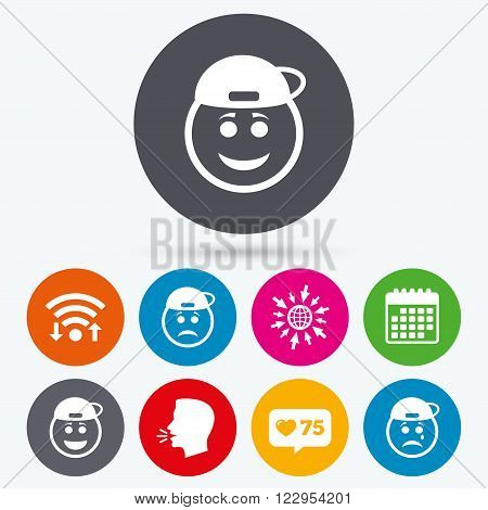 Wifi, like counter and calendar icons. Rapper smile face icons. Happy, sad, cry signs. Happy smiley chat symbol. Sadness depression and crying signs. Human talk, go to web.