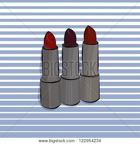 lipstick set illustration red marsala stripes beauty