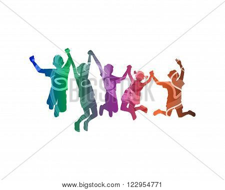 Silhouette of happy childrens on white background
