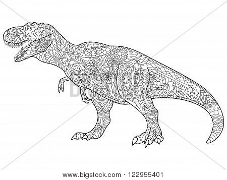 Tyrannosaurus coloring predator for adult vector illustration. Anti-stress coloring for adults. Zentangle style. Black and white lines. lace