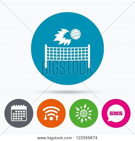 Wifi, Sms and calendar icons. Volleyball net with fireball sign icon. Beach sport symbol. Go to web globe.