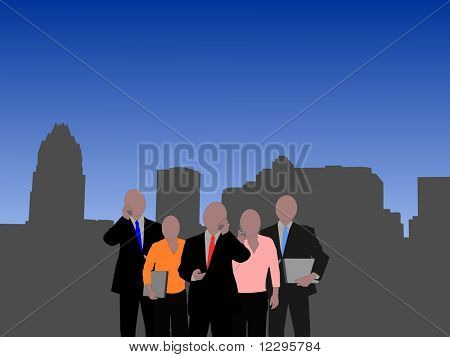 Austin Skyline with business team illustration