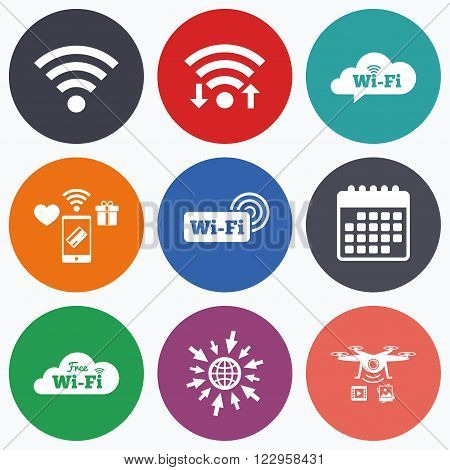 Wifi, mobile payments and drones icons. Free Wifi Wireless Network cloud speech bubble icons. Wi-fi zone sign symbols. Calendar symbol.