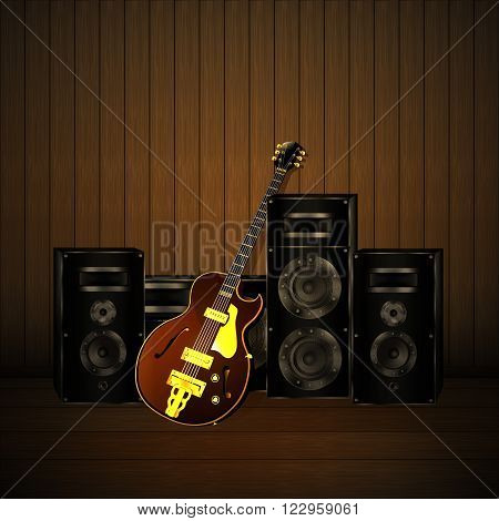 Vector illustration of a jazz guitar and speakers with subwoofer and equalizer on a wooden background