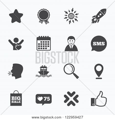 Calendar, go to web and like counter. Online shopping, e-commerce and business icons. Start up, award and customers like signs. Big sale, shipment and favorite symbols. Sms speech bubble, talk symbols.