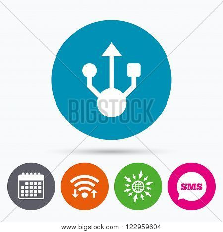 Wifi, Sms and calendar icons. Usb sign icon. Usb flash drive symbol. Go to web globe.