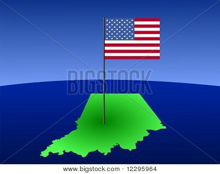 map of Indiana with American Flag on pole JPG