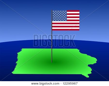 map of Iowa with American Flag on pole JPG