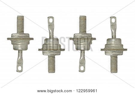 Set of four diode isolated on white background.