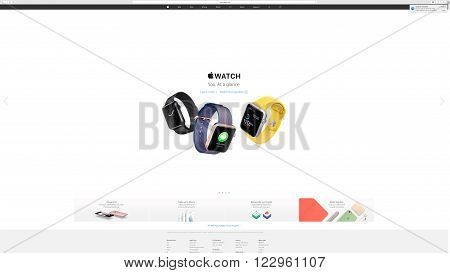 PARIS FRANCE - MAR 23 2016: Results of the latest Apple keynote with the Apple.com website presenting new straps for Apple Watch - you at a glance