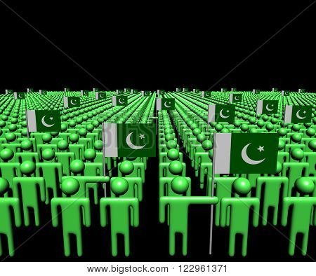 Crowd of abstract people with many Pakistani flags illustration