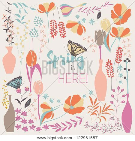 Floral spring card design with hand drawn flowers floral elements and monarch butterflies vector illustration