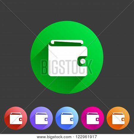 Purse wallet icon flat web sign symbol logo label set