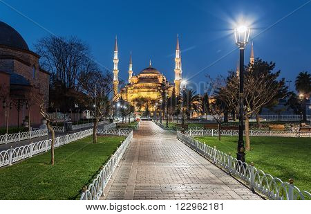 Istanbul.Turkey. Night on Sultanahmet Mosque at Istanbul as seen from Sultanahmet