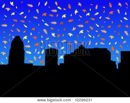 Austin Skyline in autumn with falling leaves illustration