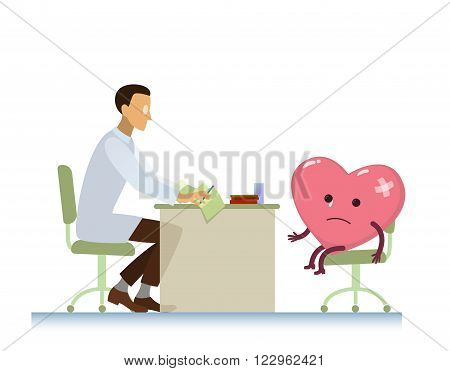 diseased heart on consultation with a doctor cardiologist, who read cardiogram - cartoon vector stylization symbol - World Health Day