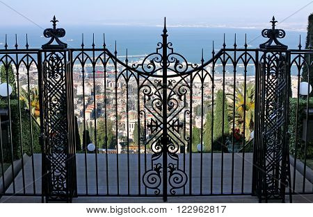 HAIFA ISRAEL - MARCH 01 2016: Gates upper terrace Bahai Gardens on Mount Carmel