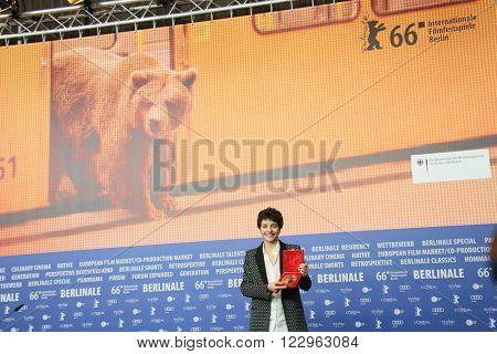 Leonor Teles poses with his award at the award winners press conference of the 66th Berlinale International Film Festival on February 20, 2016 in Berlin, Germany.
