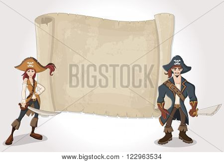 Big pirate map and cartoon pirates