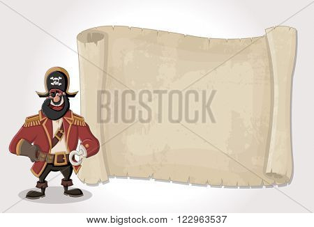 Big pirate map and cartoon pirate