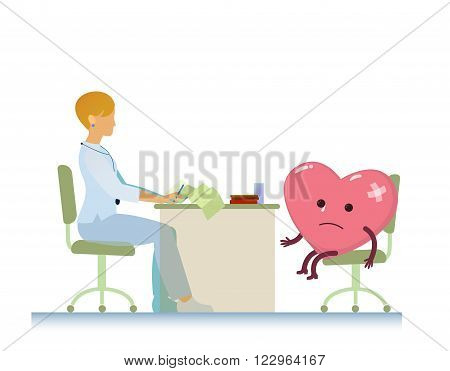 diseased heart on consultation with a doctor woman cardiologist, who read cardiogram - cartoon vector stylization symbol - World Health Day