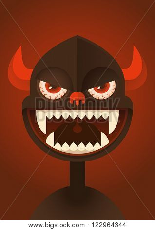 Portrait of a comic demon. Vector illustration.