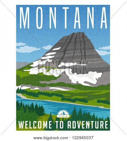 Retro style travel poster or sticker. Bearhat Mountain and Hidden Lake, Montana USA