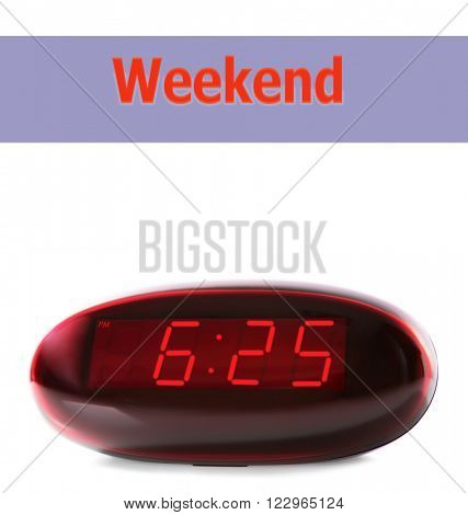 Digital clock showing 6:25 o'clock isolated on white