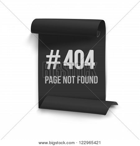 Illustration of Error 404 Vector Folded Paper Banner. Page Not Found Template with Black Folded Paper Scroll
