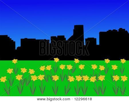 Baltimore skyline in spring with daffodils illustration JPG