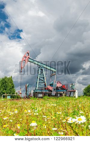 Oil pump jack and wild chamomile flowers under cloudy skies