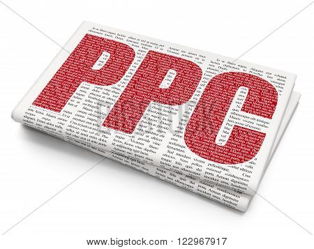 Advertising concept: PPC on Newspaper background