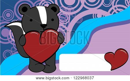 cute skunk cartoon valentine love card background in vector format