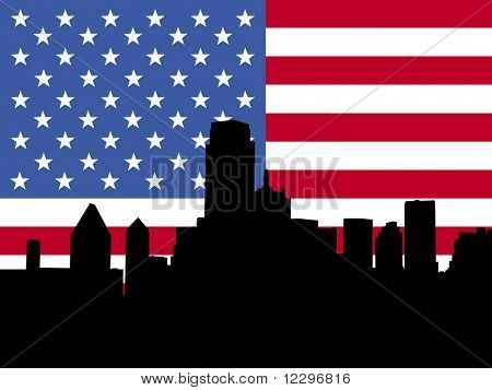 Dallas Skyline with American flag illustration