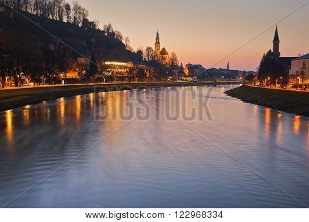 Panoramic view of the historic city of Salzburg with Salzach river, blue hour, Salzburger Land, Austria