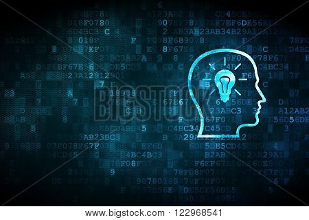 Advertising concept: Head With Lightbulb on digital background