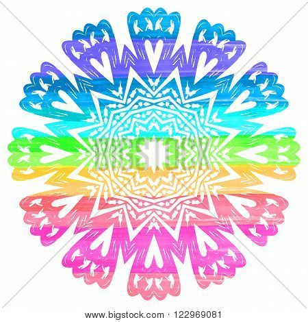 Ornate rainbow mandala or festive snowflake with hearts. Bright fantasy motif. Fantasy element for design. Colorful vector illustration.Fantasy symbol on white background.Easy editable.