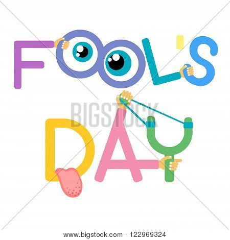 Fool Day April Holiday Greeting Card Banner Comic Crazy Eyes Tongue Vector Illustration