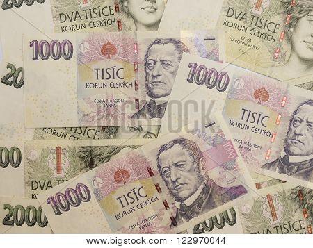 1000 and 2000 Czech koruna CZK (legal tender of the Czech Republic) banknotes