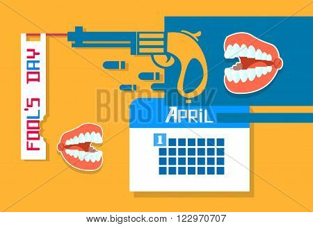 Abstract Gun, Calender, Jaw Teeth Fool Day April Holiday Greeting Card Banner Vector Illustration